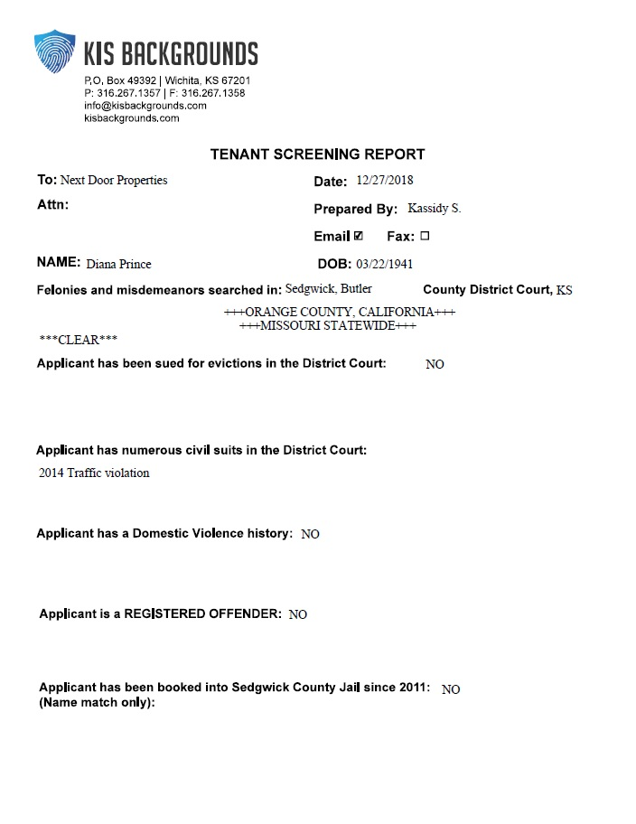 Clear Tenant Report